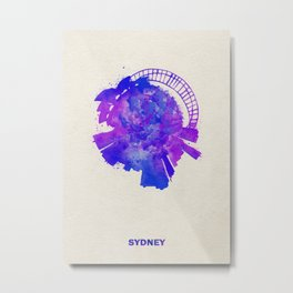 Sydney, Australia Colorful Skyround / Skyline Watercolor Painting Metal Print