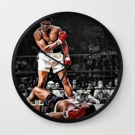 Mama Said I'm Gonna Knock You Out - Ali Knocks out Liston B&W over Color Painting Wall Clock