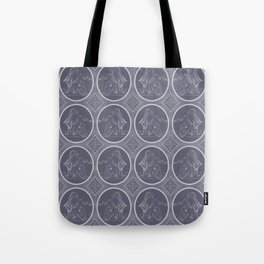 Grisaille Charcoal Blue Grey Neo-Classical Ovals Tote Bag