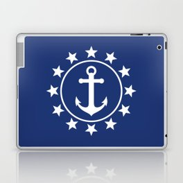 White Anchors & Stars Pattern on Navy Blue Laptop & iPad Skin