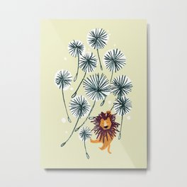 Lion on dandelion Metal Print