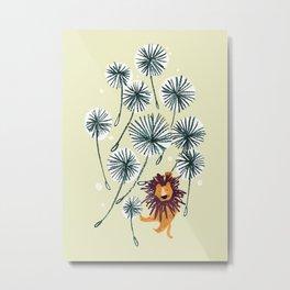 Lion on dandelion Metal Print