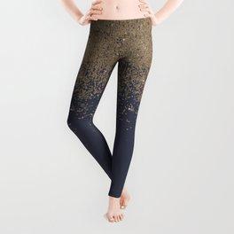 Navy Blue Gold Sparkly Glitter Ombre Leggings