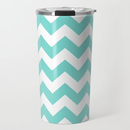 Chevrons White & Aqua Travel Mug
