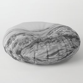 Black and White Pacific Ocean Waves Floor Pillow