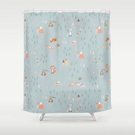 Camping with friends - Foxie Shower Curtain