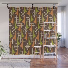 Mid Century Modern Atomic Wing Composition 235 Brown Orange and Charteuse Wall Mural