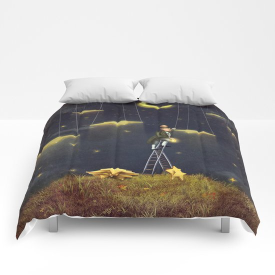 Man reaching for stars  at top of tall ladder Comforters