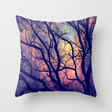 Black Trees Deep Pastels Space Throw Pillow
