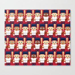 Baseball Red, White and Blue - Super cute sports stars Canvas Print