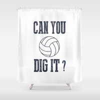 volleyball Shower Curtains featuring Can You Dig It Volleyball by raineon