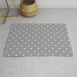 Small White Polka Dots with Grey Background Rug