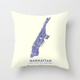 Manhattan Map NYC Throw Pillow