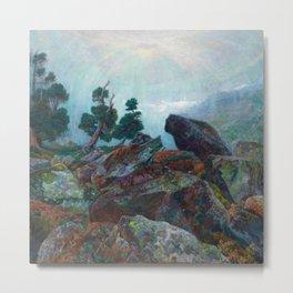 Weather chirping on cyclone rock landscape painting by Emilie Mediz-Pelikan Metal Print