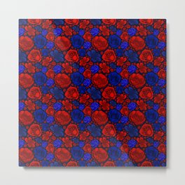 Beautiful Blue and Red Floral Pattern Metal Print