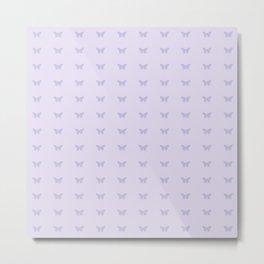 Minimal Butterfly Pattern - Lilac Purple Metal Print