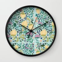 flower pattern Wall Clocks featuring Flower Pattern by Jo Cheung Illustration