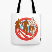 crossfit Tote Bags featuring American Crossfit Runners USA Flag Circle Retro  by patrimonio