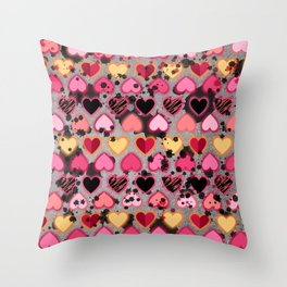 Splatter, Spackle Hearts 1 Throw Pillow