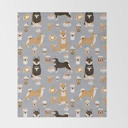 Shiba Inu coffee dog breed pet friendly pet portrait coffees pattern dogs Throw Blanket