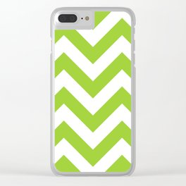 Large chevron pattern / yellow green Clear iPhone Case