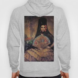 Woman of Mexico with fan portrait painting by Jesus Helguera Hoody