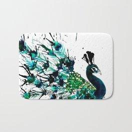 Peacock profile ink splatter Bath Mat