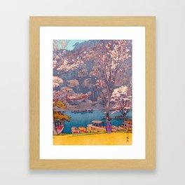 Cherry Blossoms at Arashiyama Japanese Woodblock Print Hiroshi Yoshida Framed Art Print
