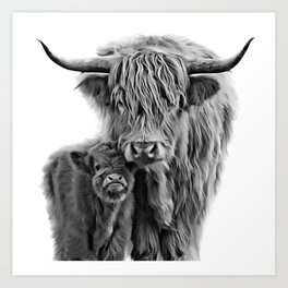Highland Cow and The Baby Art Print