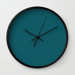 Houndstooth Black & Teal small Wall Clock