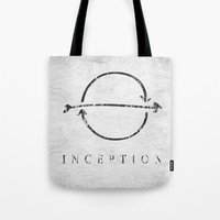 inception Tote Bags featuring Inception by Tony Vazquez
