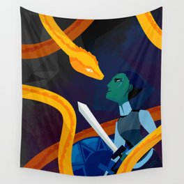 Facing the Serpent Wall Tapestry