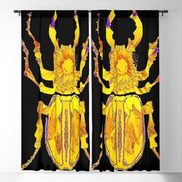 GOLDEN STAG HORNED STYLE BEETLE ABSTRACT BLACK Blackout Curtain