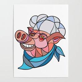 Pig Pork Baker Mosaic Color Poster