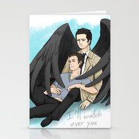 destiel Stationery Cards featuring Fluffy Muffly Destiel by bayobayo
