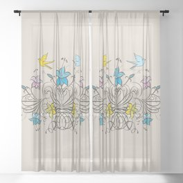 Shabby Chic vintage lily flowers bouquet and birds 1 Sheer Curtain