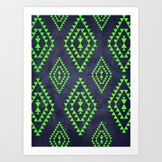 Navy & Lime tribal inspired print Art Print