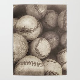Bucket of Old Baseballs in Sepia Poster