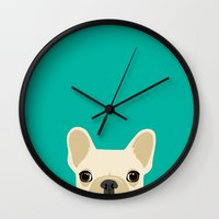 french Wall Clocks featuring French Bulldog by Anne Was Here