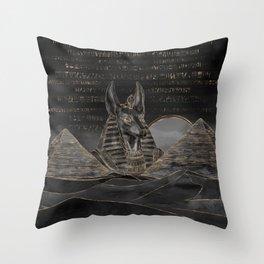Anubis on Egyptian pyramids landscape Throw Pillow