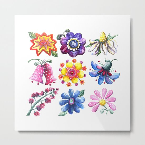 Pretty Flowers All in a Row Metal Print