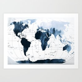 ALLOVER THE WORLD-Woods fog map Art Print
