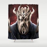 skyrim Shower Curtains featuring Dragonborn - Mirrak Digital Illustration  by JackiesGamingArt