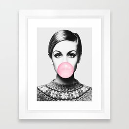 Twiggy, Bubble gum, Fashion art, Style, Scandinavian, Minimal, Trendy decor, Wall art Framed Art Print
