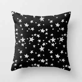 Linocut black and white stars outer space astronauts minimal Throw Pillow