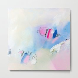 Giclee Print abstract painting modern Painting Abstract Art Acrylic Painting white yellow pink Metal Print