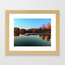Romantic evening at the lake III | waterscape photography Framed Art Print