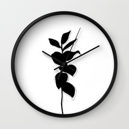 Plant silhouette line drawing - Evie layered Wall Clock