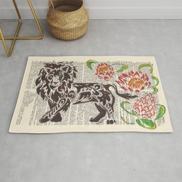Kings of Africa  (Lion and Protea flowers on dictionary page) Rug