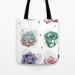 Succulent pattern with drops Tote Bag